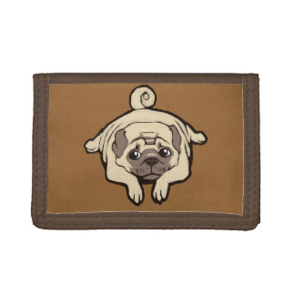 Too lazy to pug tri-fold wallet