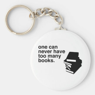 too many books basic round button keychain