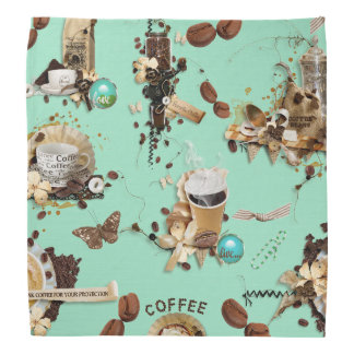Too Much Coffee mint green brown beans mug cup Bandanas