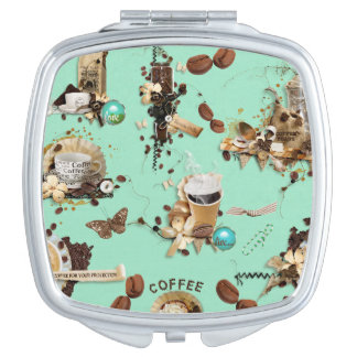 Too Much Coffee mint green brown beans mug cup Makeup Mirror