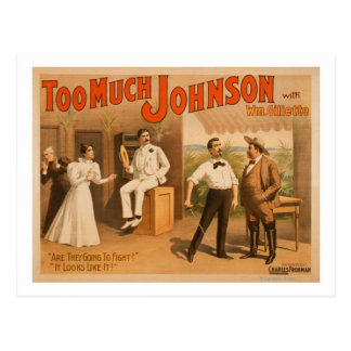 """""""Too much Johnson"""" - Two Men Fighting Theatre Postcard"""