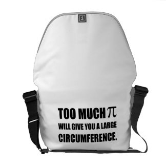 Too Much Pi Symbol Circumference Messenger Bags