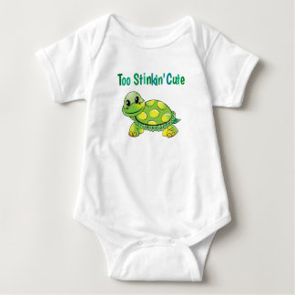Too Stinkin' Cute Green and Yellow Spotted Turtle Baby Bodysuit