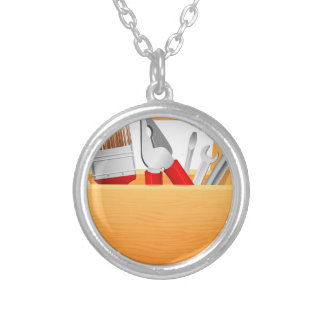Tool Box Silver Plated Necklace