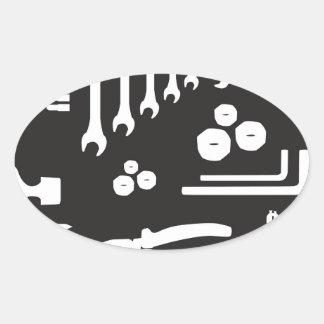 Tool Silhouette Pattern Oval Sticker