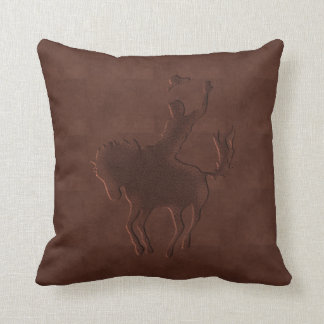 Tooled Faux Leather Cowboy on Horse Throw Pillow