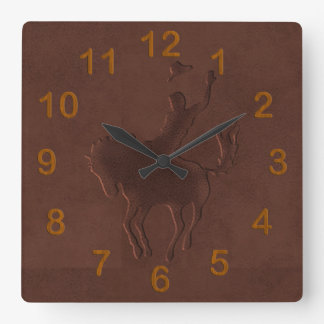 Tooled Leather Cowboy on Horse Square Wall Clock