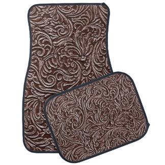Tooled Leather Dark Brown Chocolate Rustic Look Car Floor Carpet