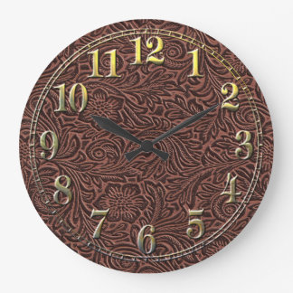 Tooled Leather Large Clock