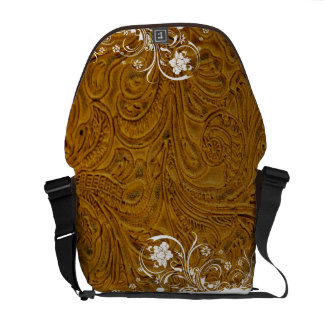 Tooled Light Brown Leather-Look Western Courier Bag
