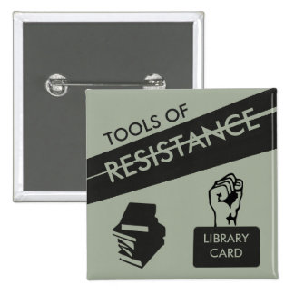 Tools of Resistance: Library Card & Books 2 Inch Square Button