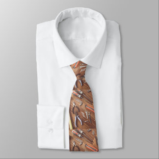 Tools On Wood Print Necktie