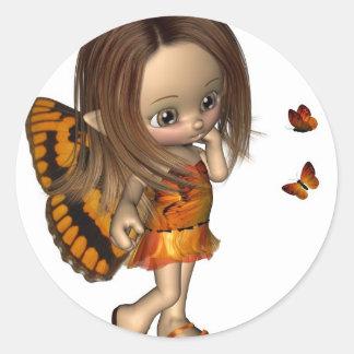 Toon Butterfly Fairy - Orange Classic Round Sticker