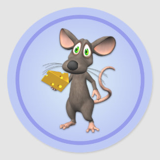 Toon Mouse With Cheese Sticker