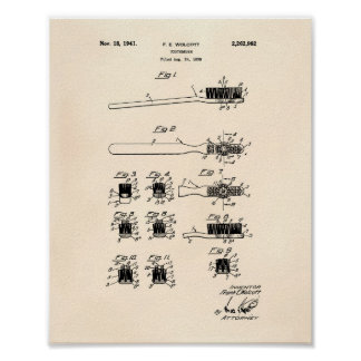 Tooth Brush 1941 Patent Art Old Peper Poster