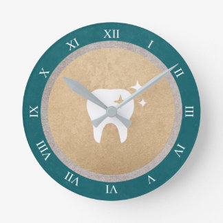 Tooth | Gold & Silver Cyan Dental Roman Numerals Round Clock