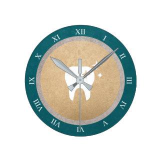 Tooth | Gold & Silver Cyan Dental Roman Numerals Wall Clocks