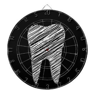 Tooth graphic for dentist dartboard with darts