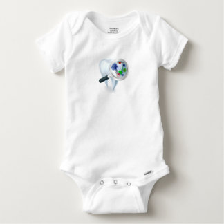 Tooth Magnifying Glass Bacteria Concept Baby Onesie