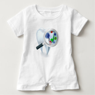 Tooth Magnifying Glass Bacteria Concept Baby Romper