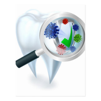 Tooth Magnifying Glass Bacteria Concept Postcard