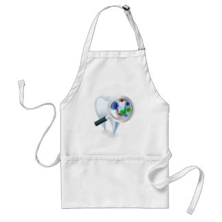 Tooth Magnifying Glass Bacteria Concept Standard Apron