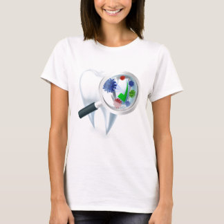 Tooth Magnifying Glass Bacteria Concept T-Shirt