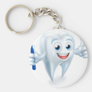 Tooth Mascot Character Basic Round Button Keychain