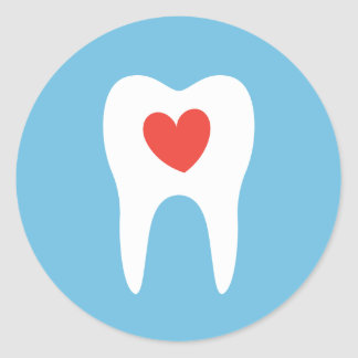 Tooth silhouette love heart dentist dental sticker