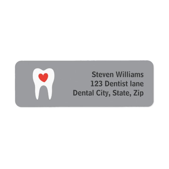 Tooth silhouette love heart return address labels