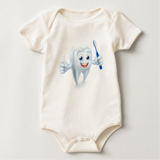 Tooth with Brush Dental Mascot Baby Bodysuit