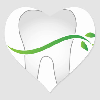 Tooth with green leaves heart sticker