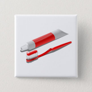 Toothbrush And Toothpaste 2 Inch Square Button