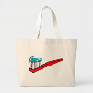 Toothbrush and Toothpaste Large Tote Bag