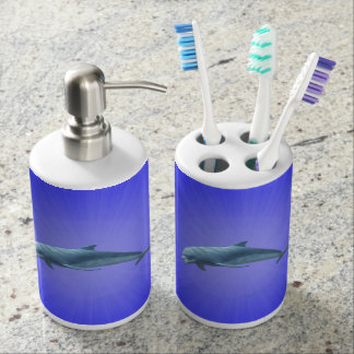 Toothbrush Holder and Soap Dispenser Set dolphin