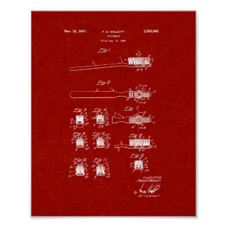 Toothbrush Patent - Burgundy Red Poster