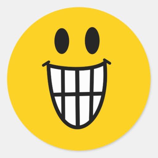 Toothy grin smiley round sticker zazzle