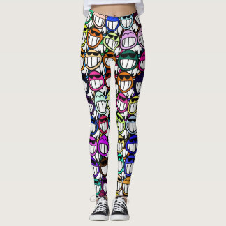 Toothy Grinning Happy Faces Leggings