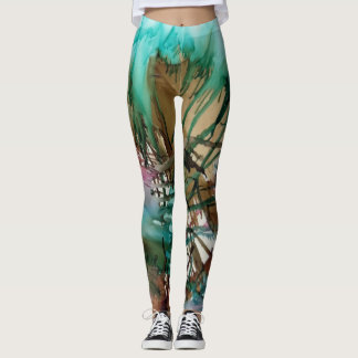 Tootzeelu Art - Sherbet Mint Tan Pink Splatter Leggings