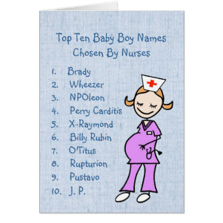 Top 10 Boy Names Chosen By Nurses Card