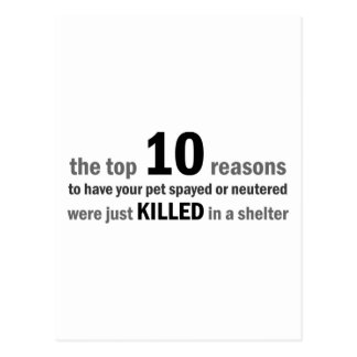 Top 10 Reasons to Spay or Neuter Postcard