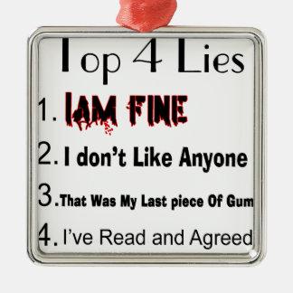 Top 4 Lies Silver-Colored Square Ornament
