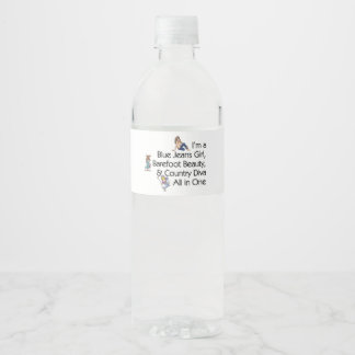 TOP Blue Jeans Girl Water Bottle Label