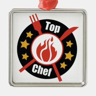 Top Chef Silver-Colored Square Ornament
