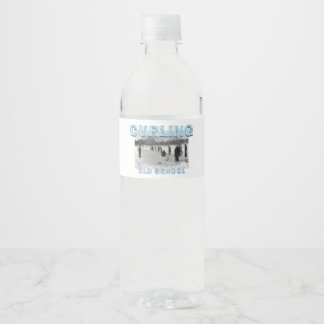 TOP Curling Old School Water Bottle Label