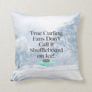 TOP Curling Slogan Throw Pillow