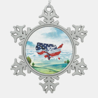 TOP Cycling in the USA Snowflake Pewter Christmas Ornament