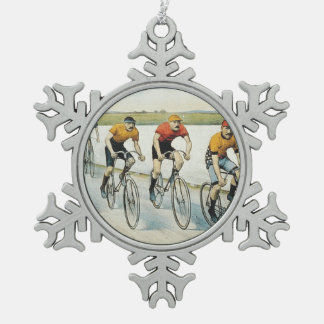 TOP Cycling Old School Pewter Snowflake Ornament