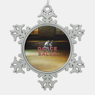TOP Dance Salsa Snowflake Pewter Christmas Ornament