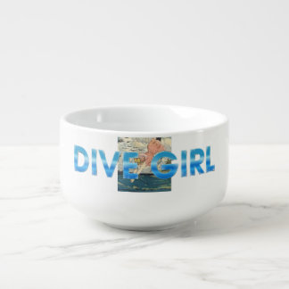 TOP Dive Girl Soup Bowl With Handle